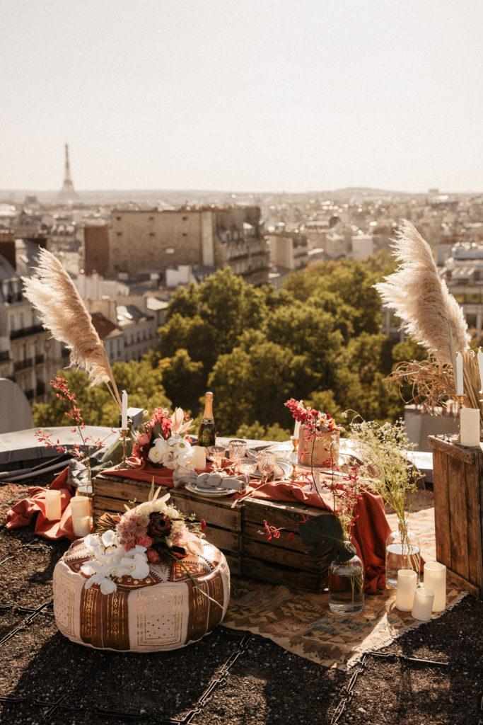 Paris Elopement Decoration Rooftop