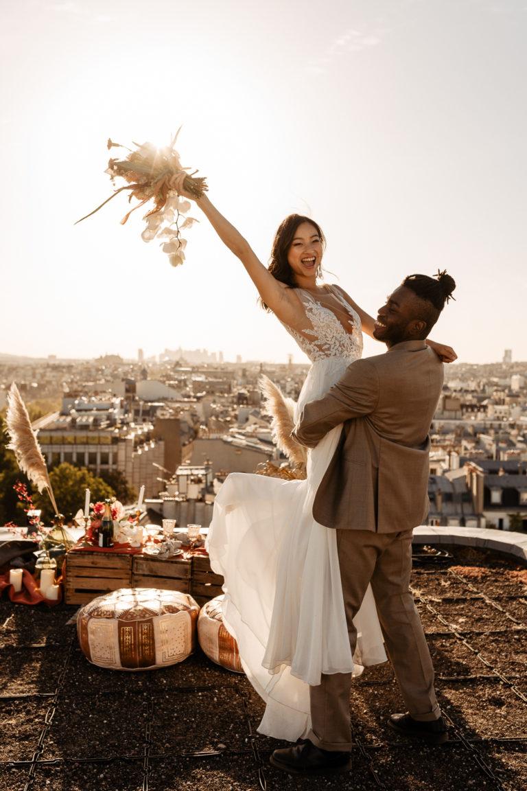 Rooftop Paris Elopement Photoshoot