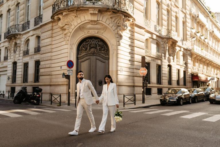 elopement wedding paris street