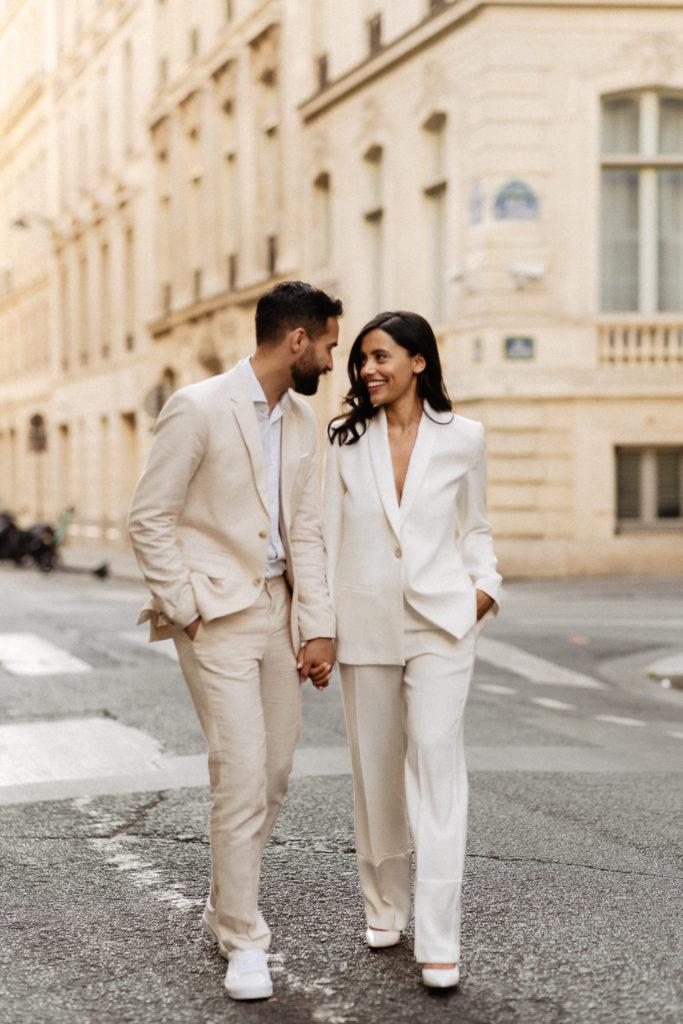 parisian street wedding photo bride suit