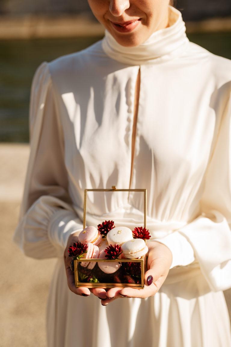 macarons pastry for paris elopement wedding