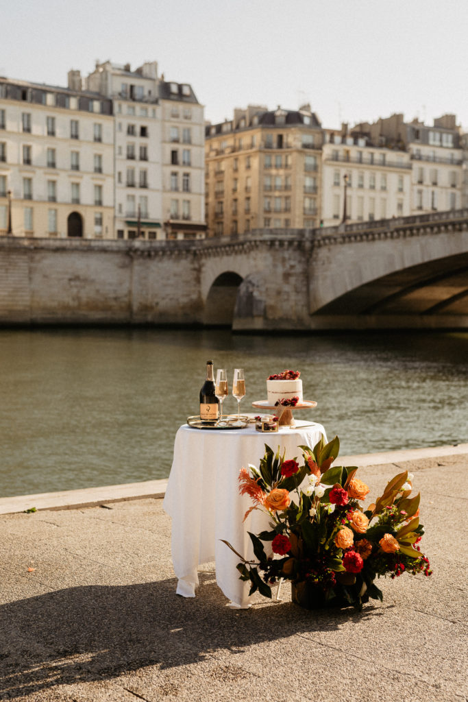 table setup decoration for paris elopement wedding
