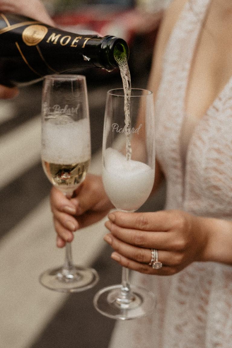 Champagne pouring paris elopement