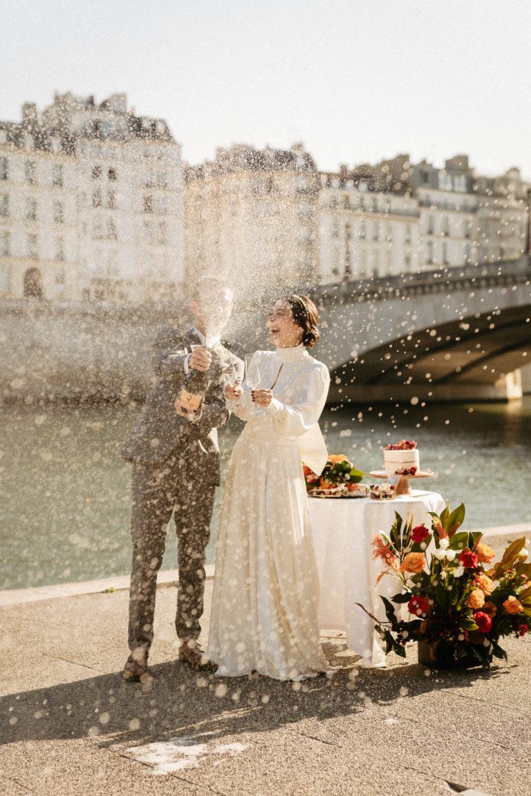 Champagne shower Paris Seine river
