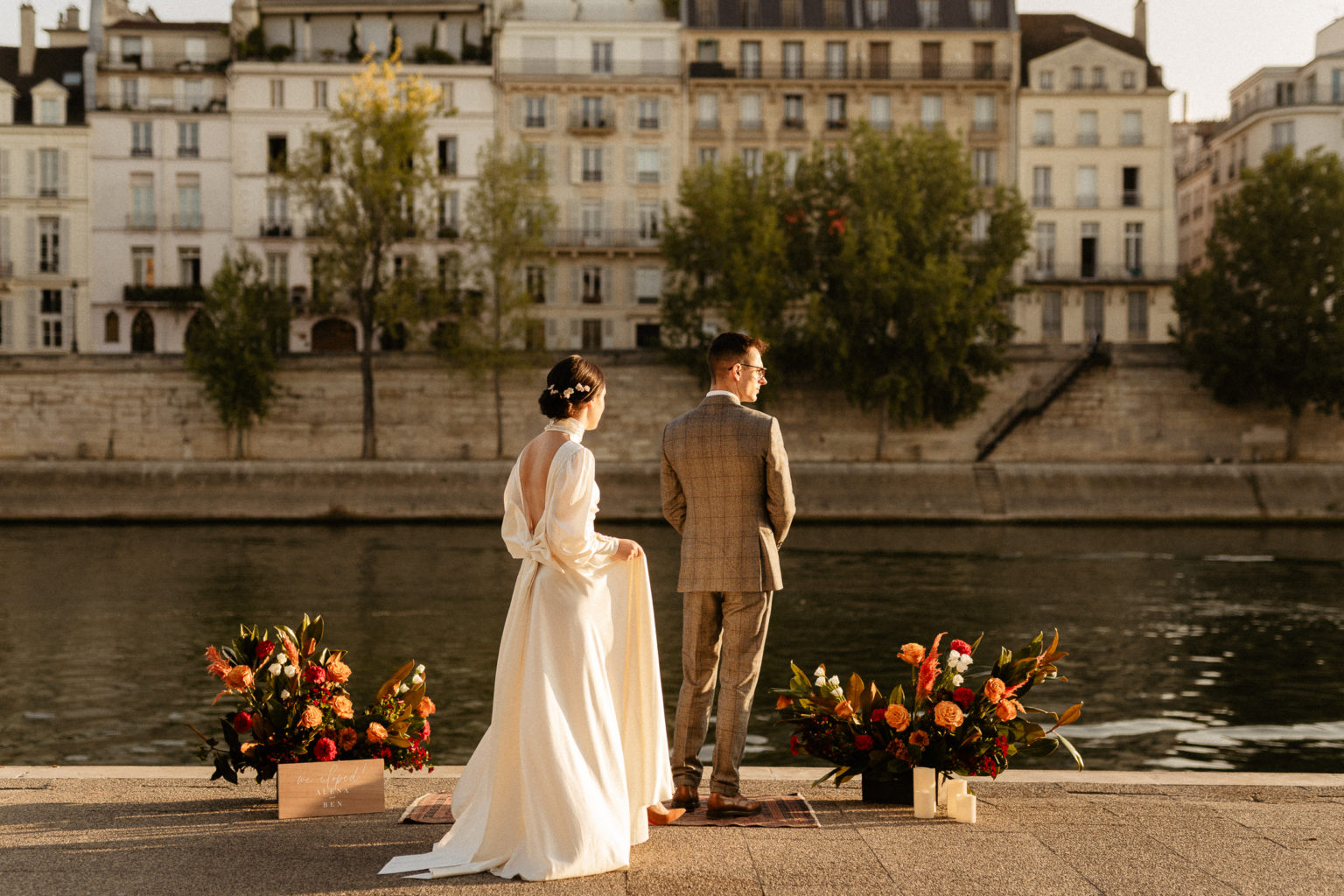 paris elopement wedding first look seine river