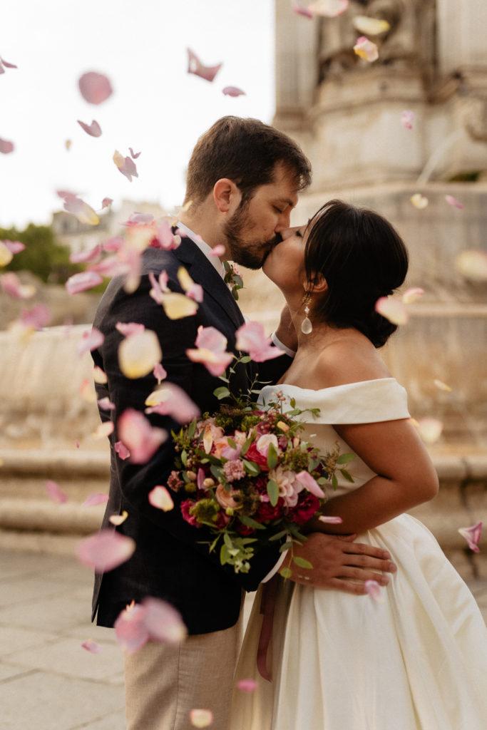 Paris elopement floral throw
