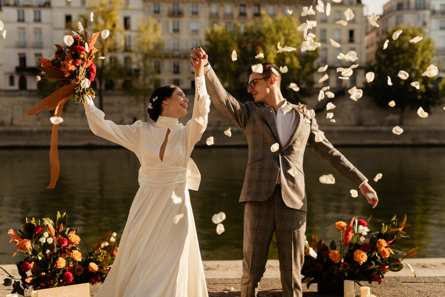 paris elopement wedding exit confetti flower petals
