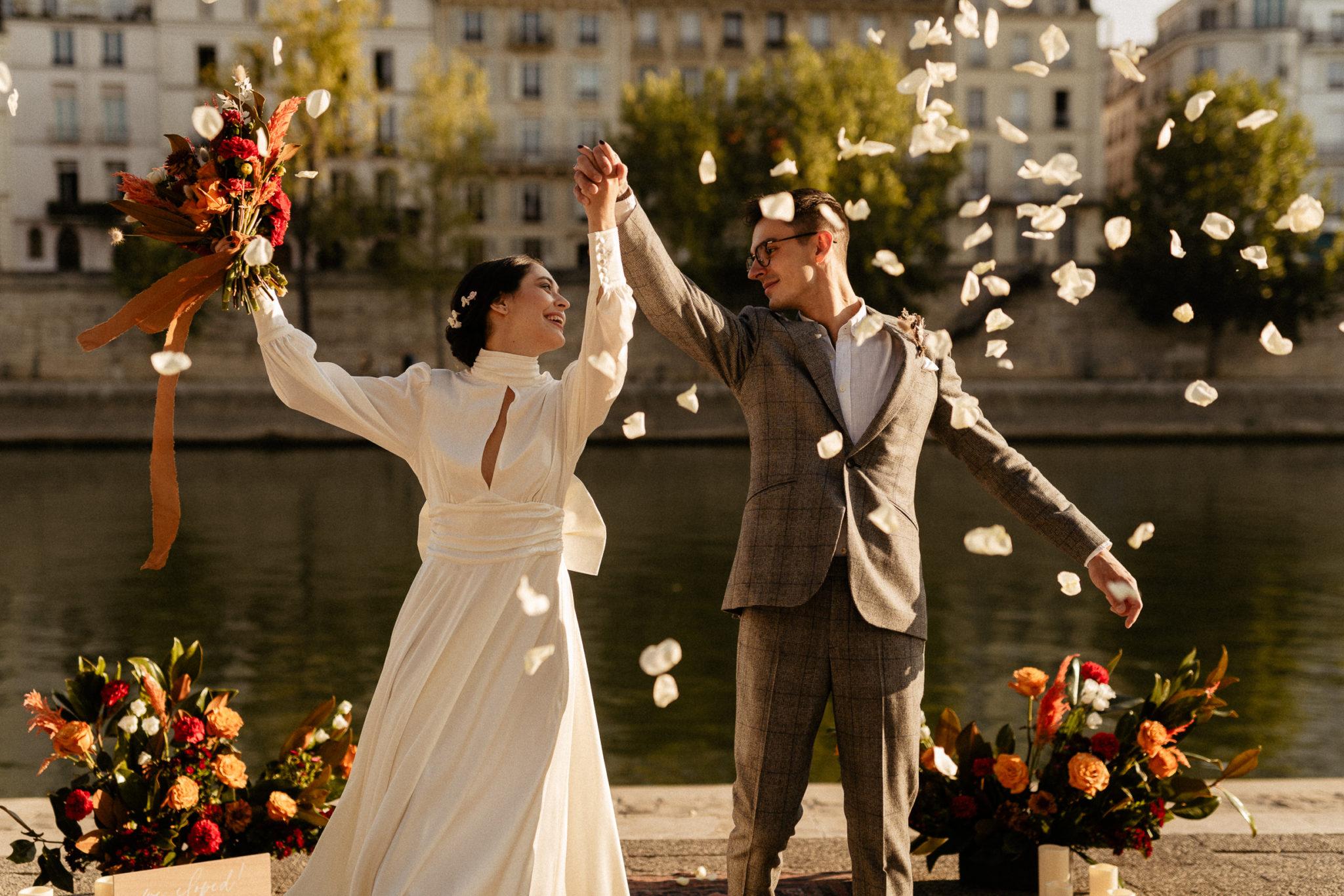 paris elopement wedding exit confetti flower petals