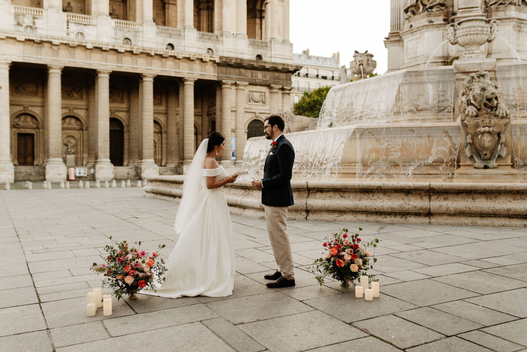Vows Renewal at Saint Sulpice Fountain in Paris