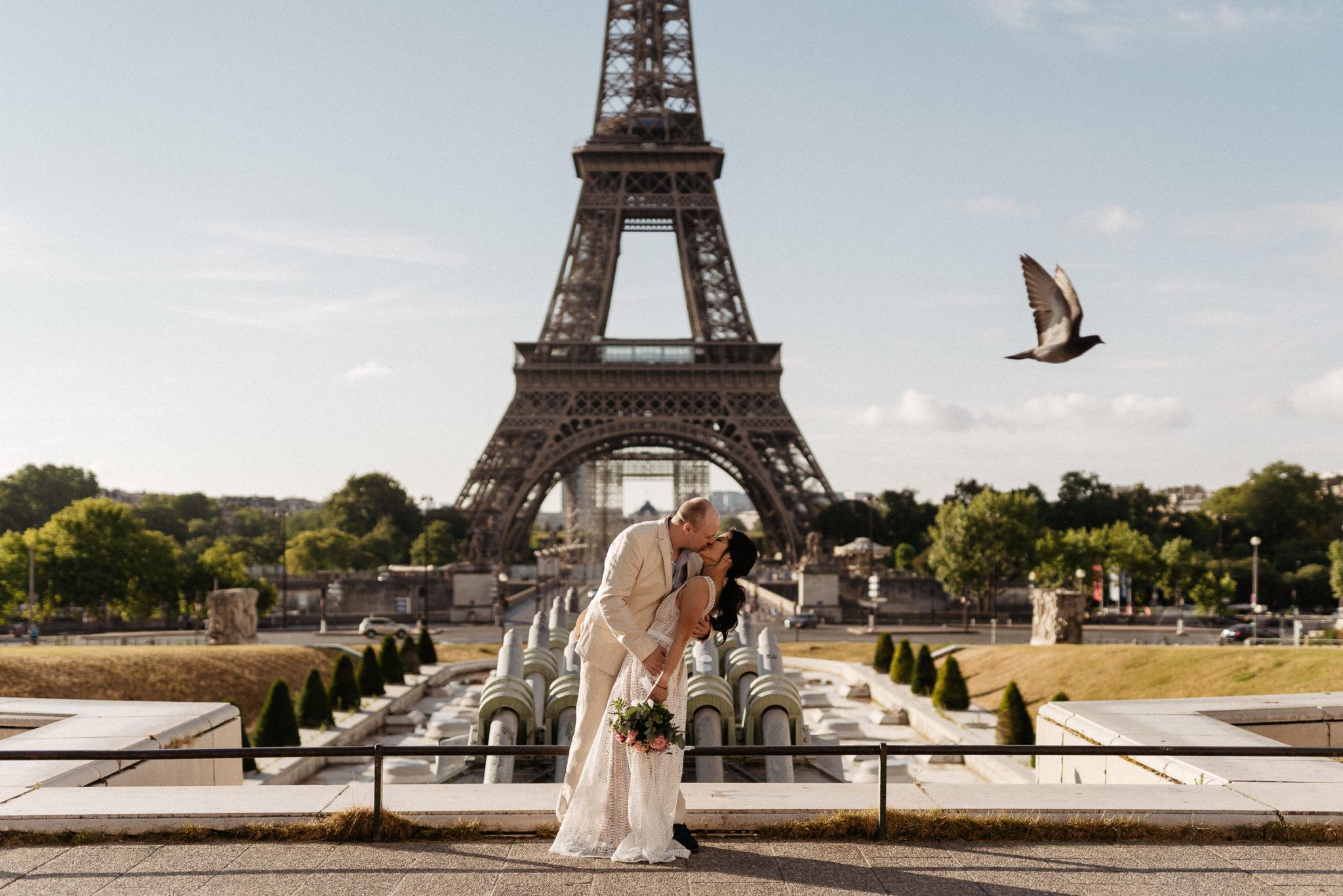 elopement wedding eiffel tower trocadero