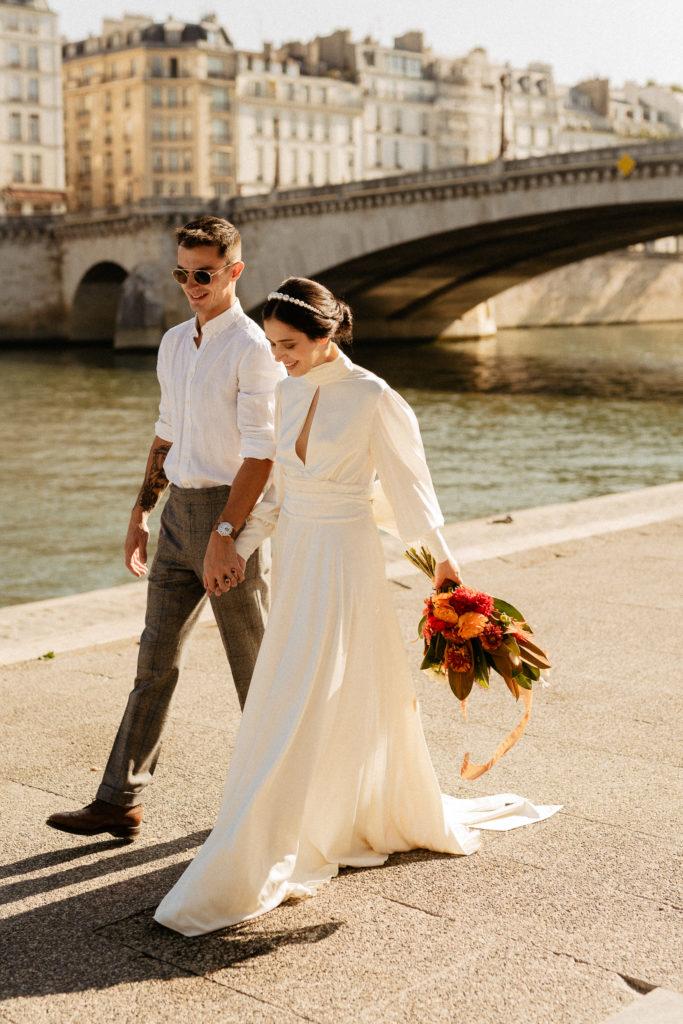 elopement wedding seine river ile saint louis