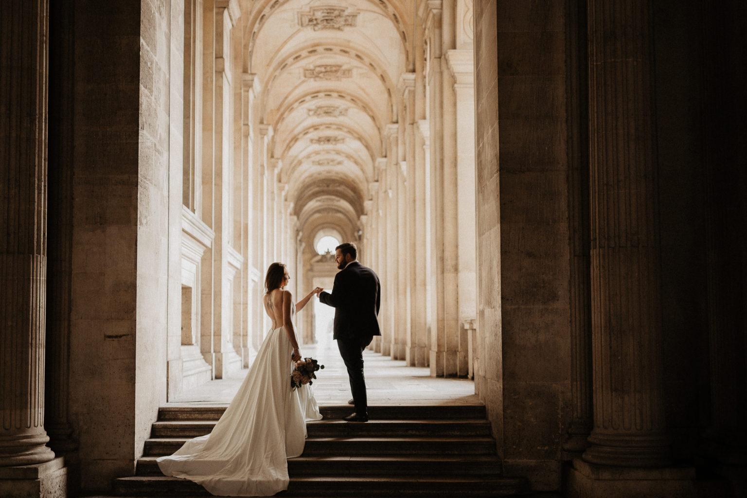 elopement wedding louvre museum