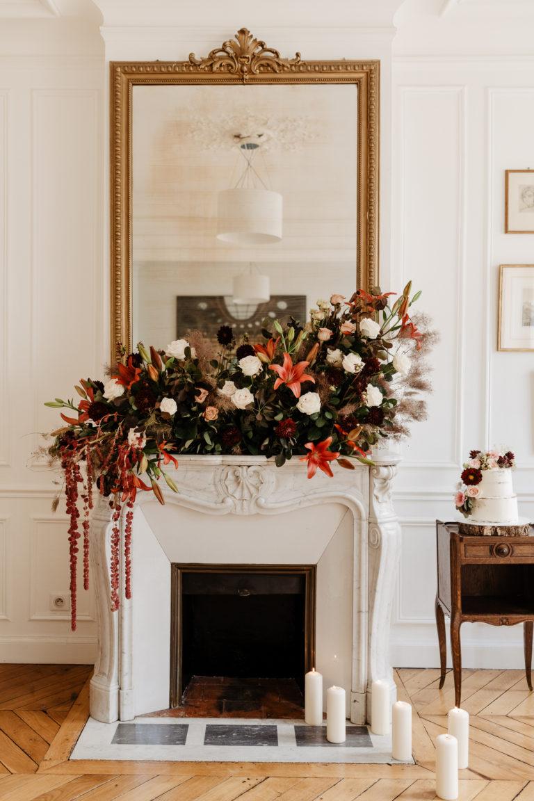 Chimney & fireplace floral decoration