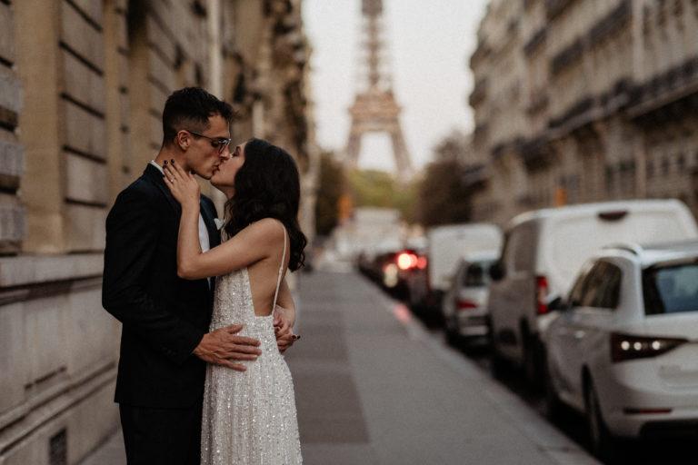 paris wedding elopement eiffel tower street