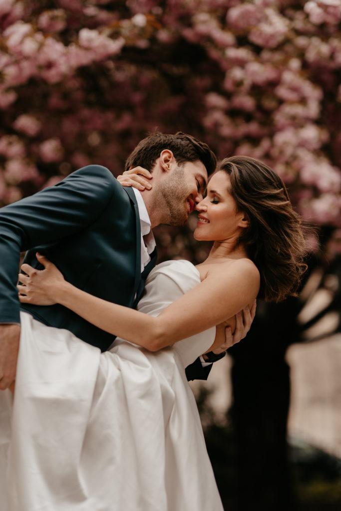 cherry blossom Paris couple photoshoot