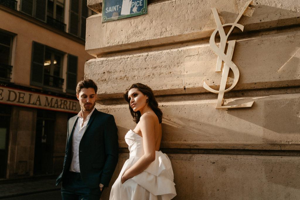 Paris street couple chic stylish photoshoot