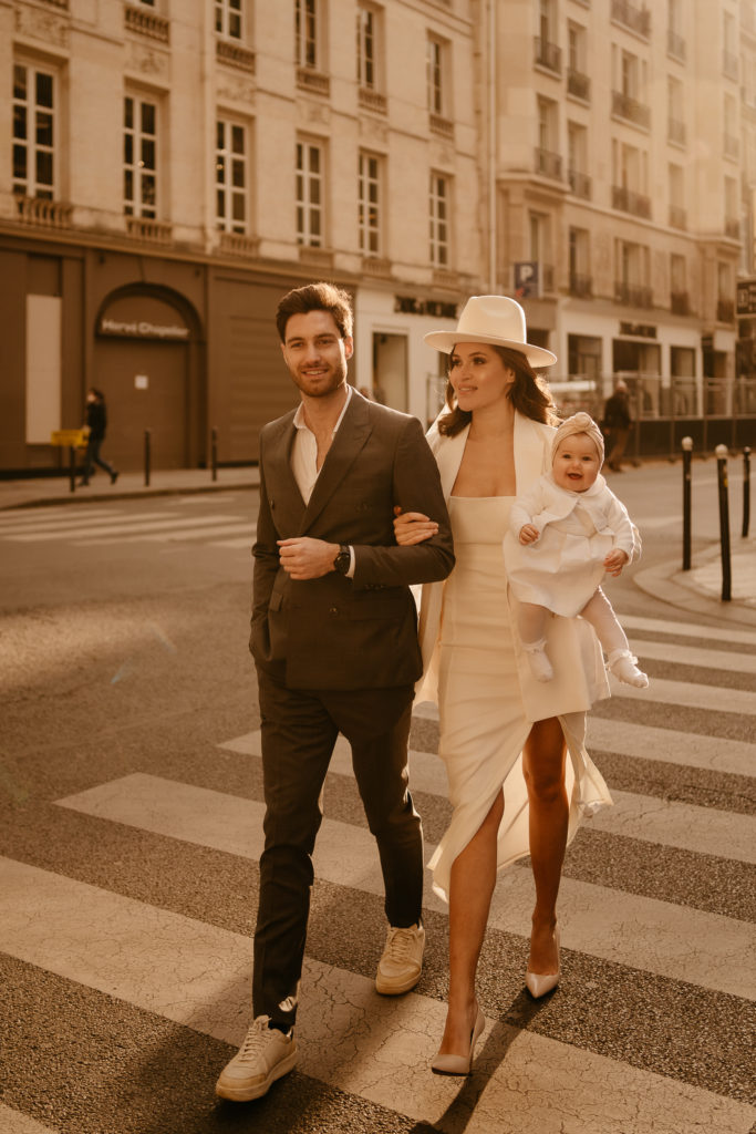 Family portrait with baby in Paris street