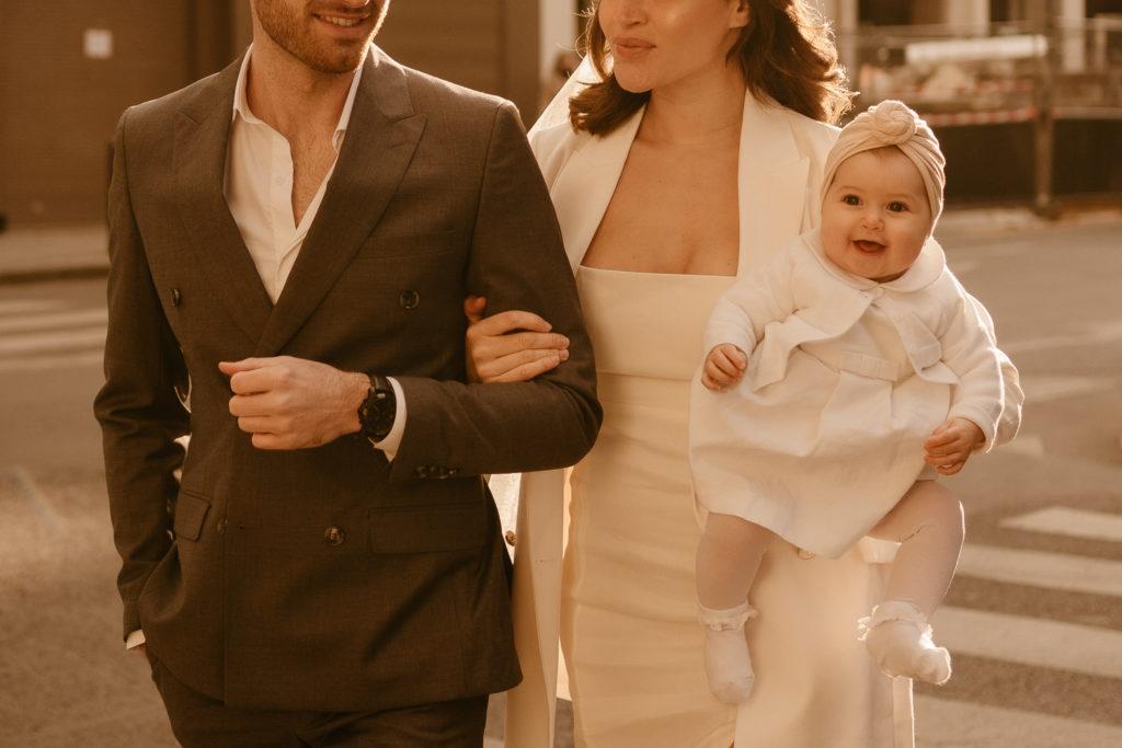 cute baby family portrait in Paris