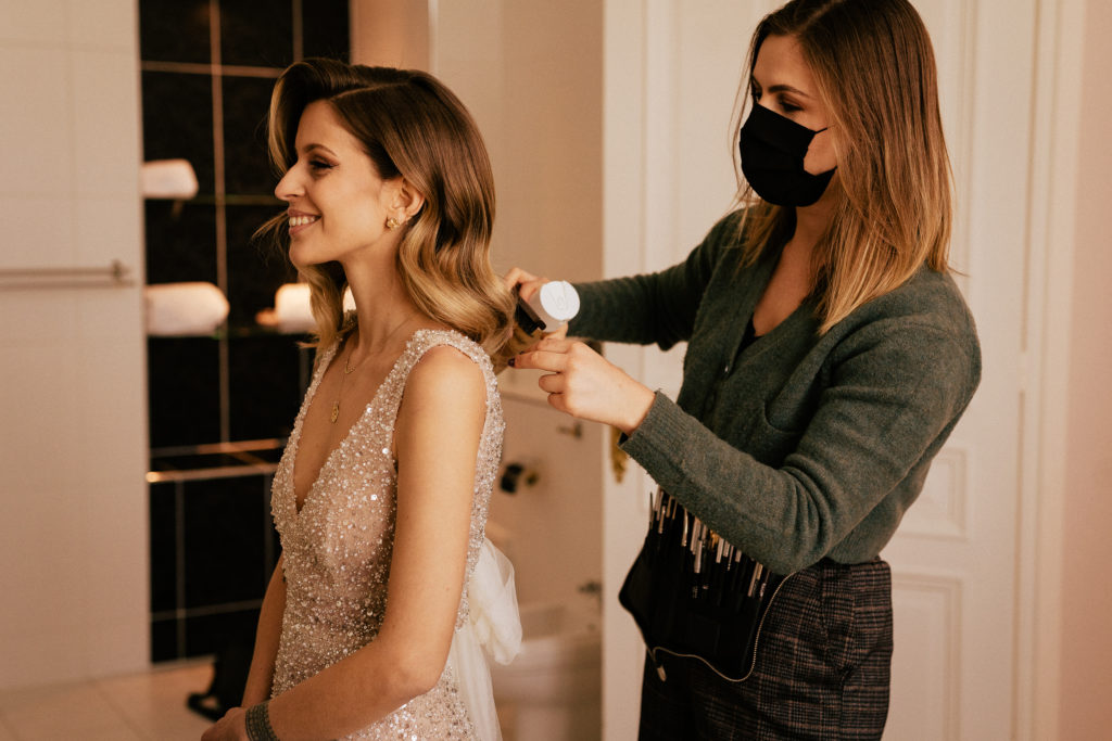make up and hair stylist preparation moment