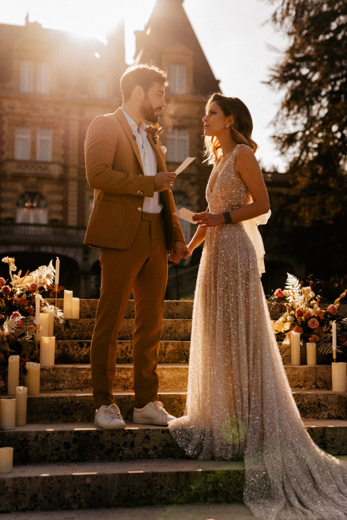 couple elopement castle wedding ceremony golden hour ideas