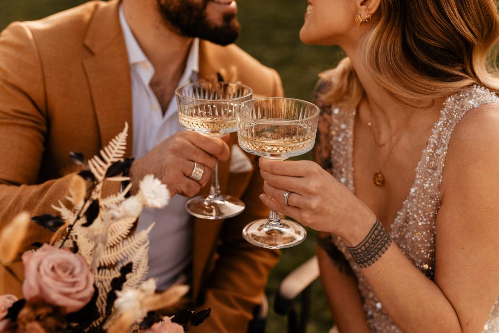 couple elopement castle wedding golden hour ideas